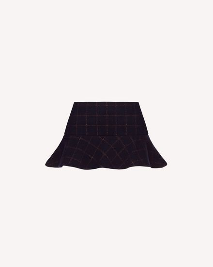 Lurex wool check shorts with ruffle detail