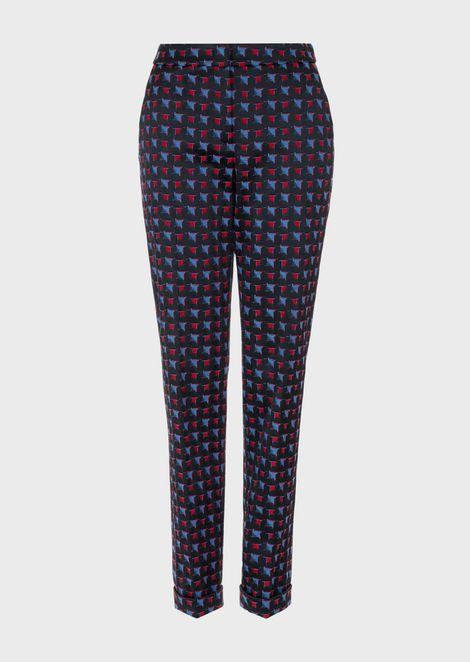 Gradient damier jacquard trousers