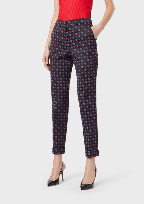 Pantaloni in tessuto jacquard damier sfumato