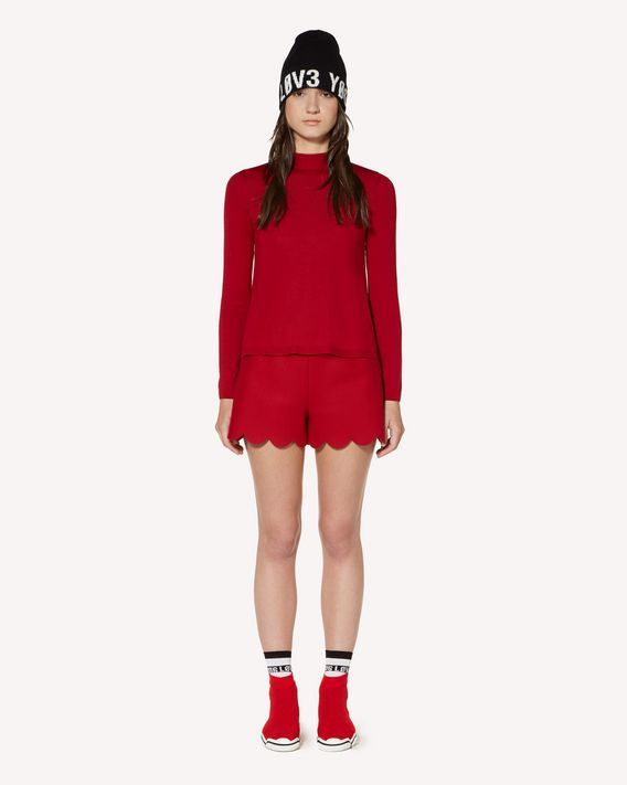 REDValentino Wool and cashmere shorts with scallop detail