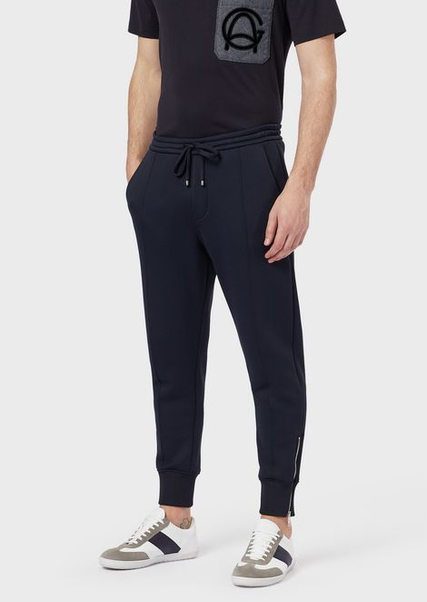 Brushed-fleece jogging sweatpants with a velvet back pocket