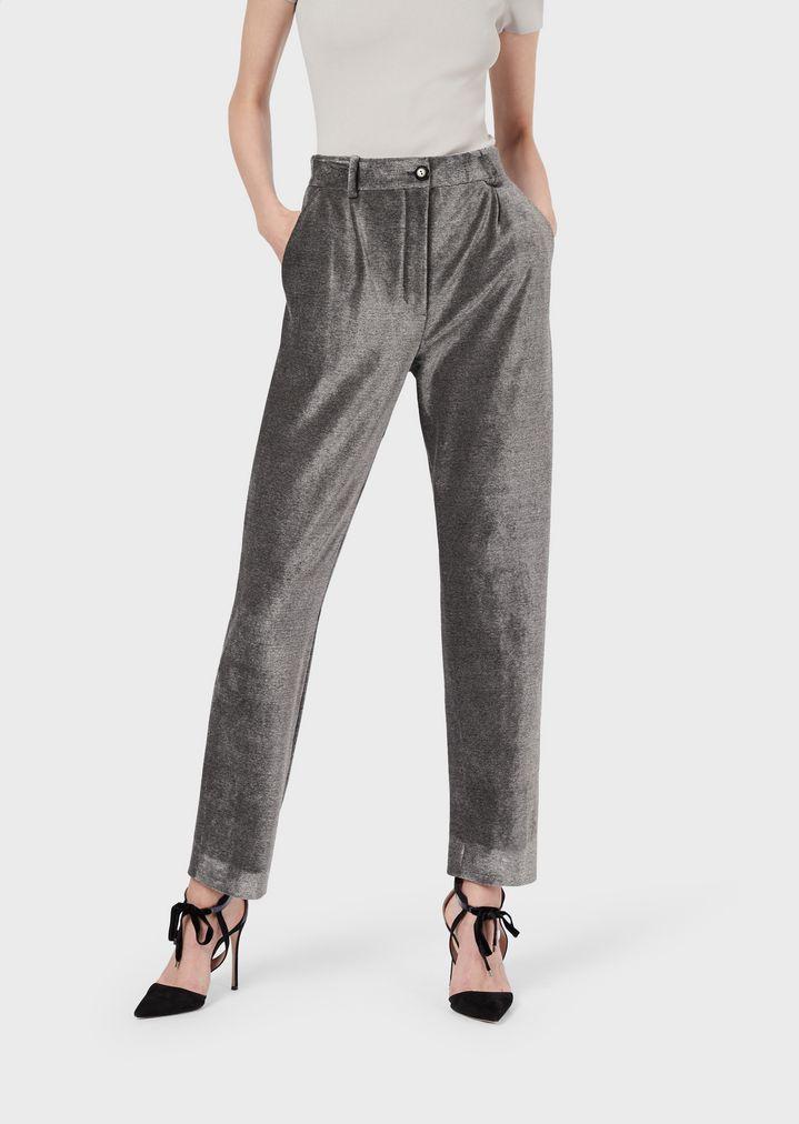 0d11522369e3d8 Pantaloni slim fit in tessuto Prince de Galles | Donna | Giorgio Armani