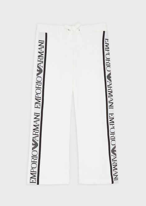 Fleece trousers with logoed stripe