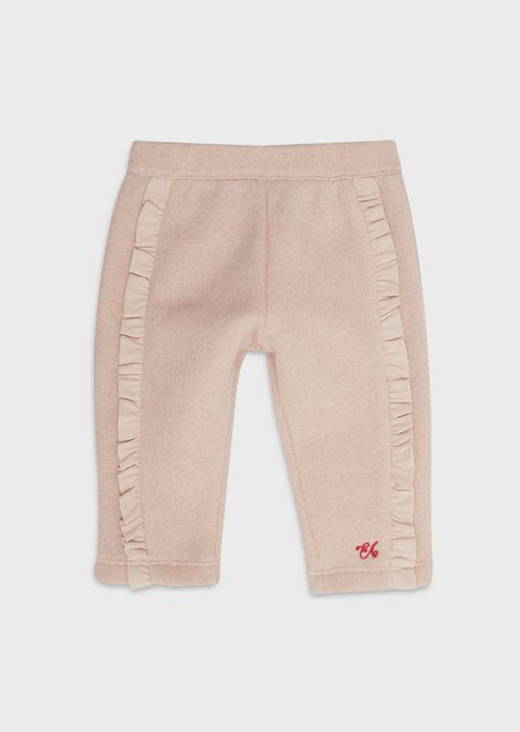 Lurex jersey fleece trousers with ruches