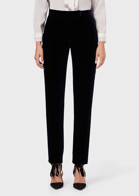 Pantalones slim fit de terciopelo