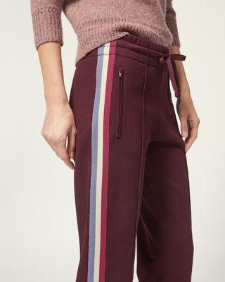 ISABEL MARANT ÉTOILE 长裤 女士 科技针织长裤 弹力抽绳腰身 两侧点缀条纹 模特身高 180 cm,身穿法国尺码 38 r