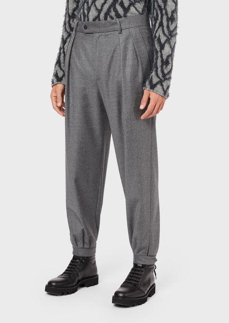 Pantalones de franela de pura lana virgen