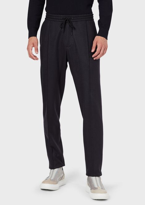 Pure virgin wool jersey drawstring trousers