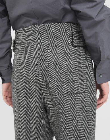 TROUSERS Scratch fastening herringbone trousers Black