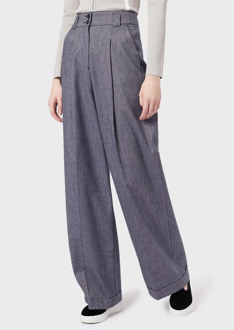 Salt-and-pepper fabric palazzo trousers
