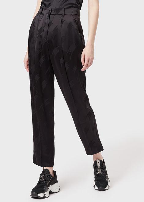 Pantalones pitillo de jacquard de raso