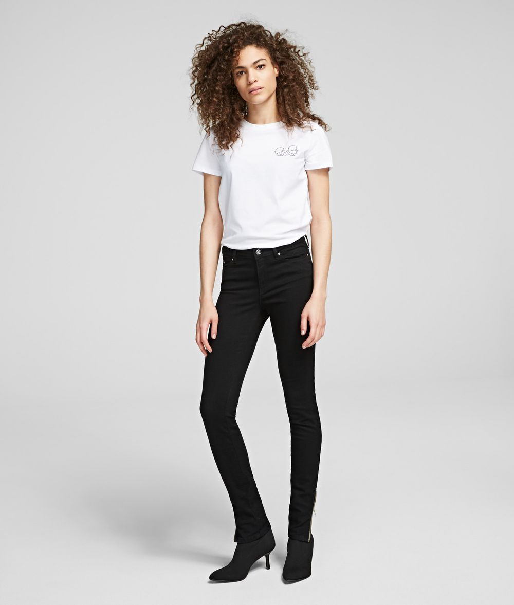 KARL LAGERFELD Skinny Jeans with Ankle Zips Pants Woman f
