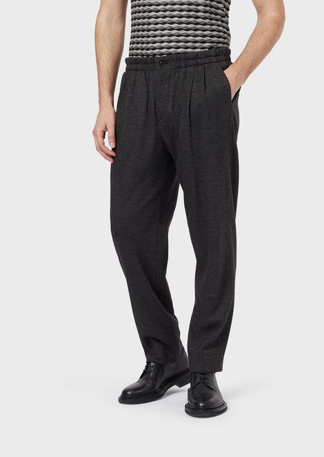 Jogger trousers in pinstriped jersey
