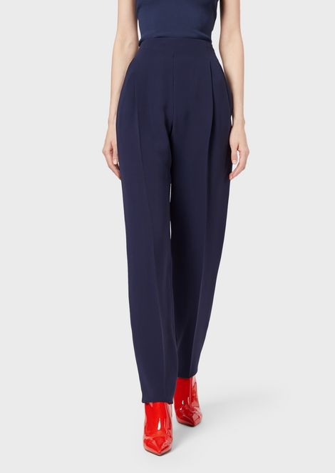 Silk cady pleated trousers