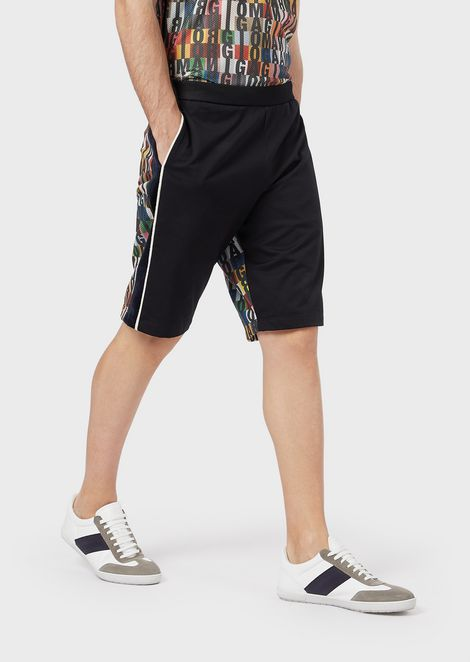 Bermuda shorts in micro piqué with a back logo pattern