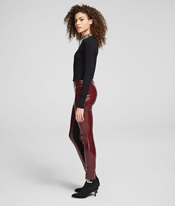 KARL LAGERFELD FAUX PATENT-LEATHER LEGGINGS