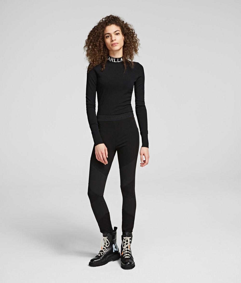 KARL LAGERFELD Ottoman Ponte Logo Leggings Pants Woman f