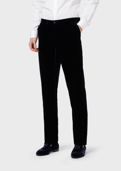 Slim-fit velvet trousers
