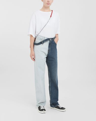 TROUSERS Side-belt jeans Blue