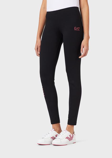 Leggings en coton stretch avec logo EA7 imprimé