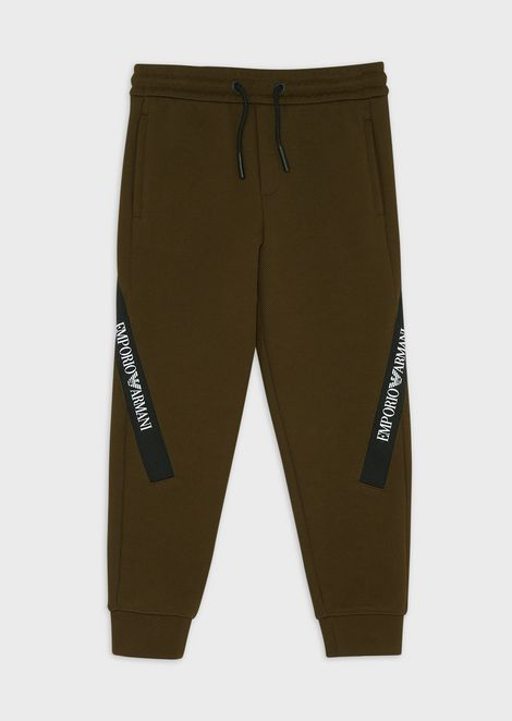 Piqué jogging trousers with logo band