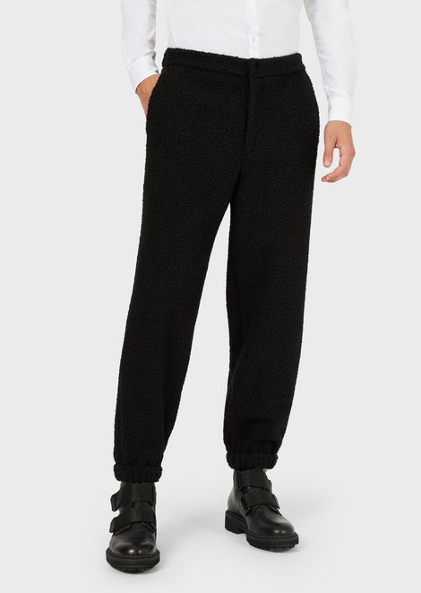 Bouclé jersey trousers with elasticated cuffs