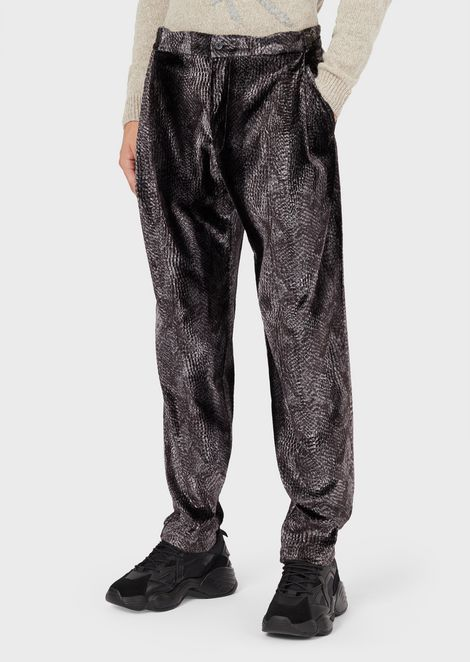 Coconut-print velvet trousers