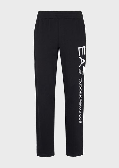 Pantalones deportivos de algodón puro de felpa perchada de bebé con logotipo de gran tamaño