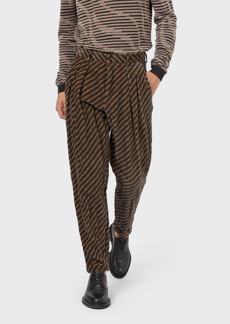 Striped velvet trousers