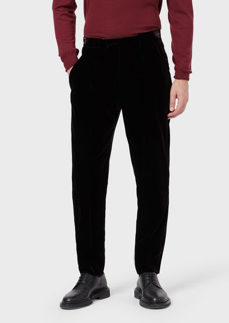 Trousers in stretch velvet