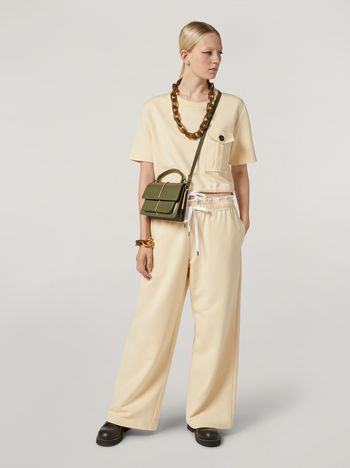 Marni Trousers in compact cotton with elasticized waist and piping Woman f