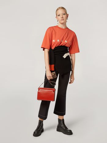 Marni Trousers in cotton cady with contrast topstitching Woman f