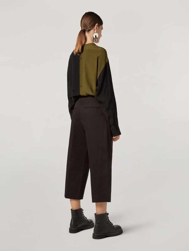 Marni Extra-loose leg trousers in cotton and linen drill Woman