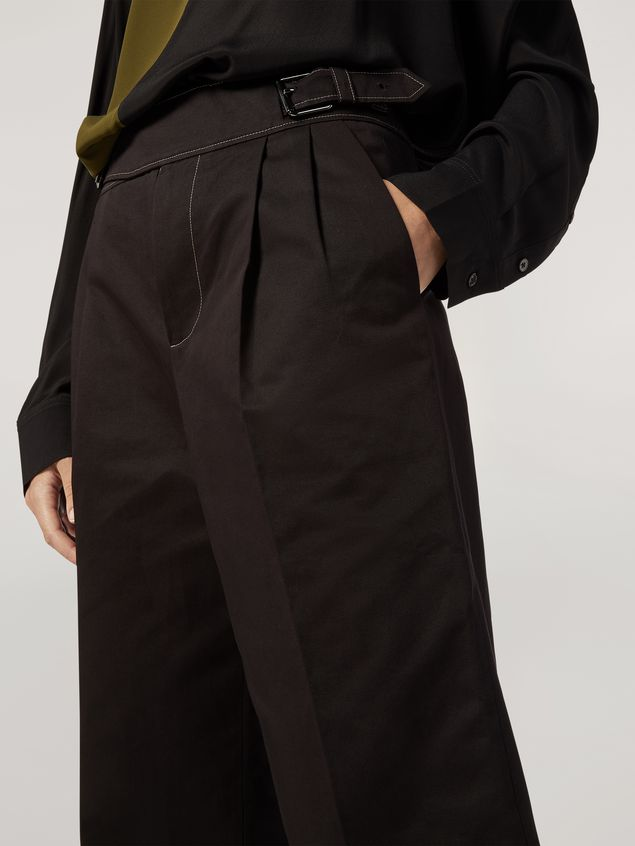 Marni Extra-loose leg trousers in cotton and linen drill Woman - 4