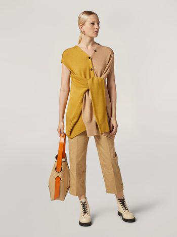 Marni Trousers in cotton and linen drill with belted bottom Woman f