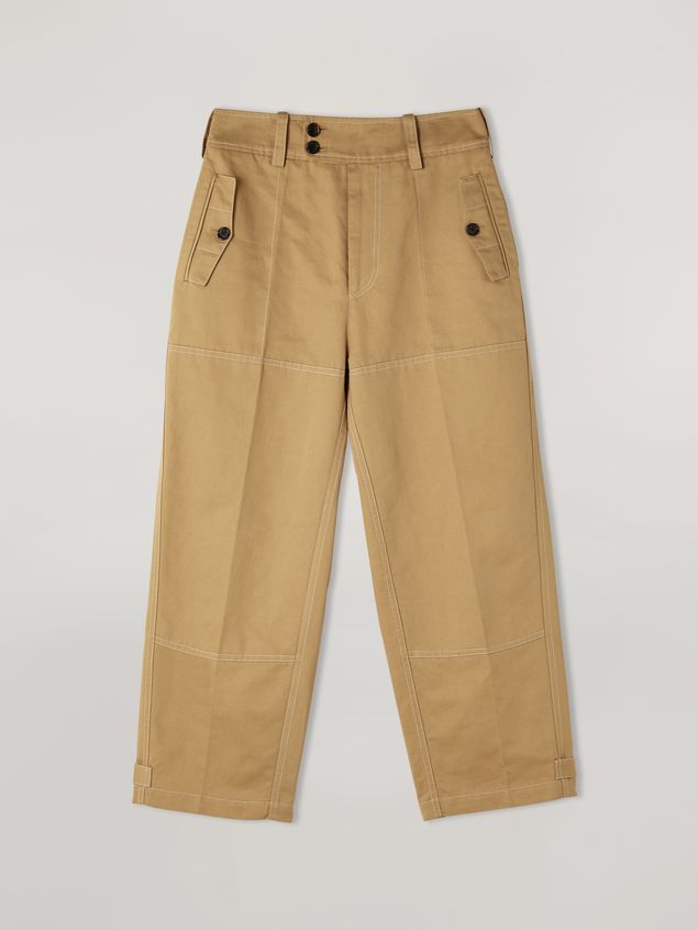 Marni Trousers in cotton and linen drill with belted bottom Woman - 2