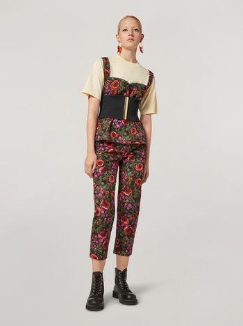 Marni Pencil trousers in faille Amarcord print Woman f