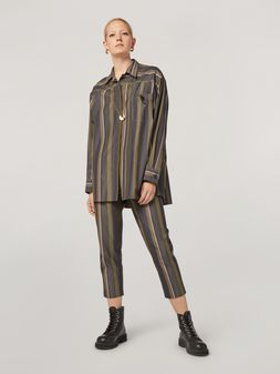 Marni Trousers in yarn-dyed striped poplin with elasticized waist Woman