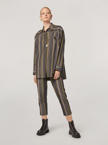 Marni Trousers in yarn-dyed striped poplin with elasticized waist Woman f