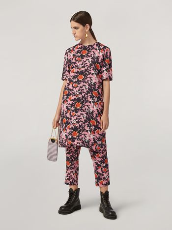 Marni Trousers in viscose sablé Buds print with elasticized waist Woman f