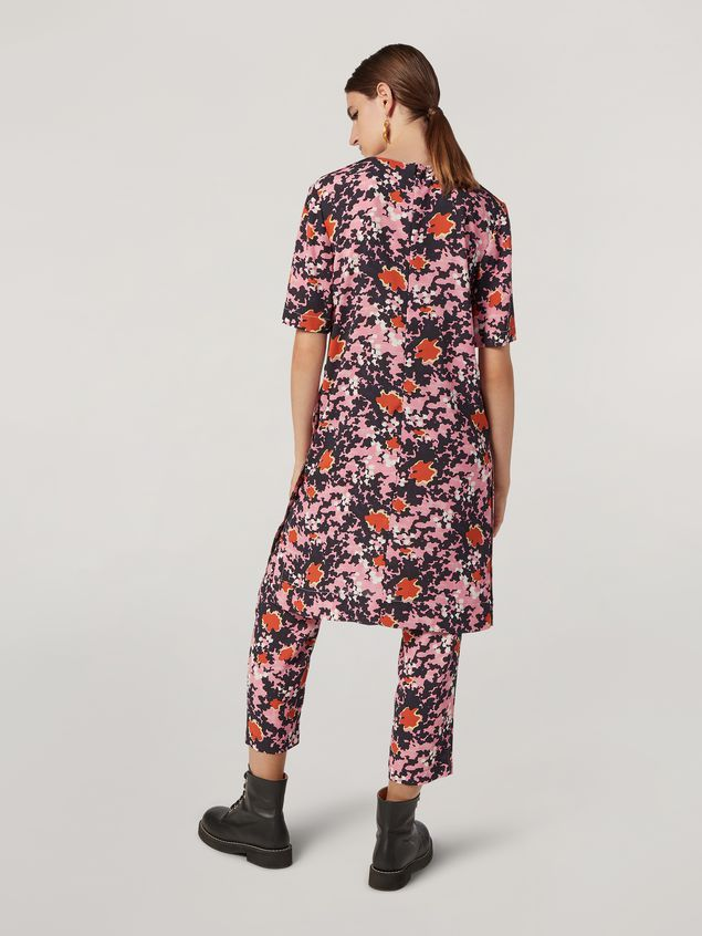 Marni Trousers in viscose sablé Buds print with elasticized waist Woman