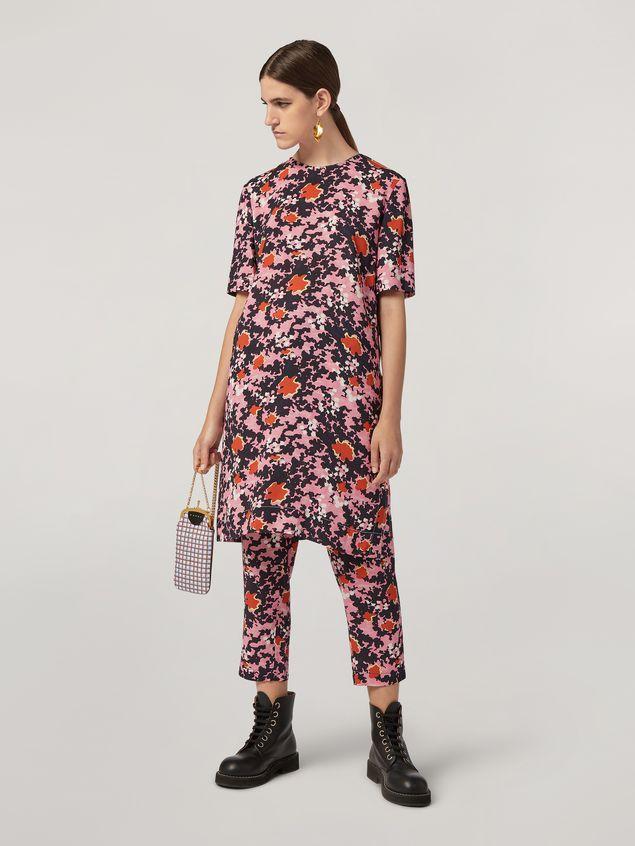 Marni Trousers in viscose sablé Buds print with elasticized waist Woman - 1