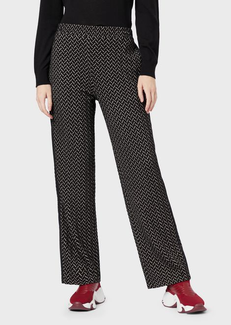 Trousers with jacquard chevron motif