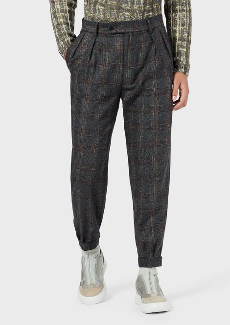 Plaid blended-wool pleated trousers