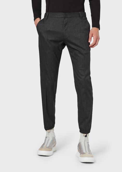 Micro-pattern trousers in soft-hand fabric
