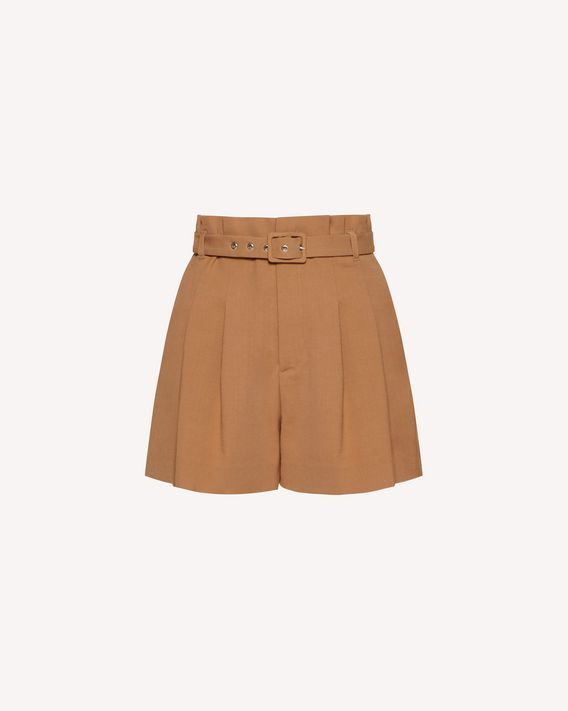 REDValentino Viscose wool gabardine high-waist belted shorts