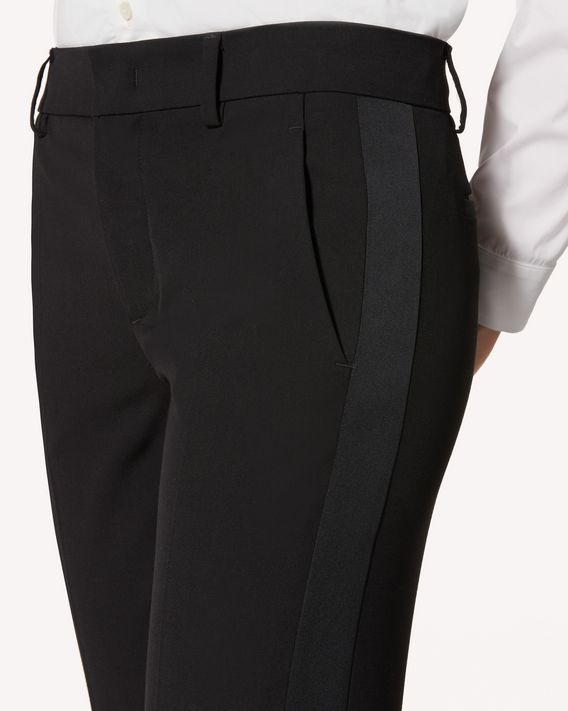 REDValentino Tuxedo detail viscose wool gabardine pants
