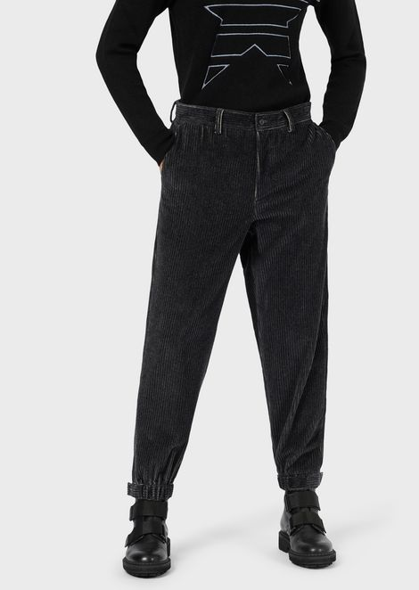 Ribbed velvet trousers with elasticated cuffs