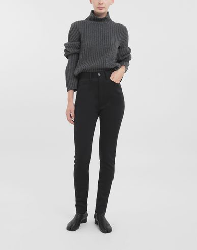 TROUSERS Skinny neoprene pants Black
