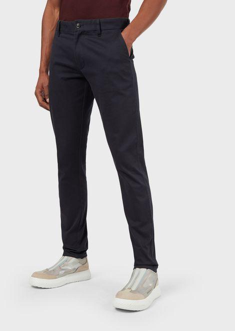 Pantalones chinos de raso esmerilado elástico